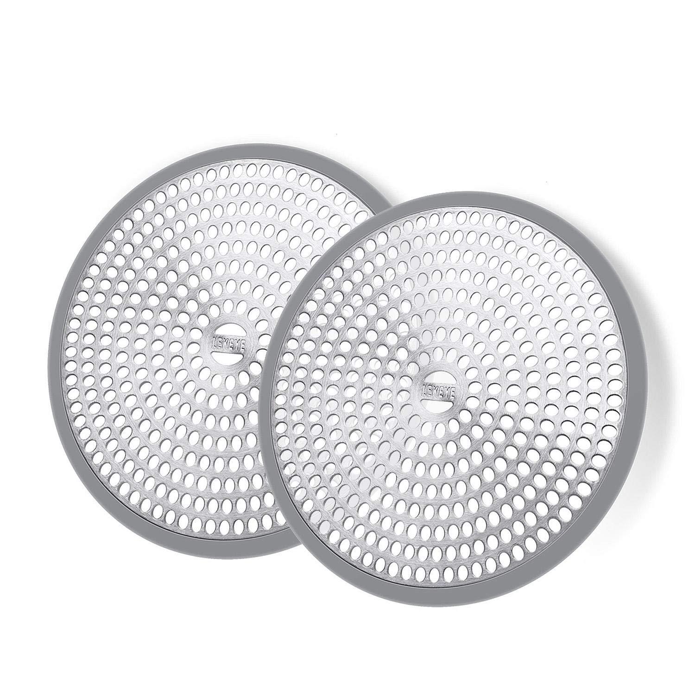 LEKEYE Shower Hair Catcher Drain Protector Strainer-Steel & Silicone 2 Pack…