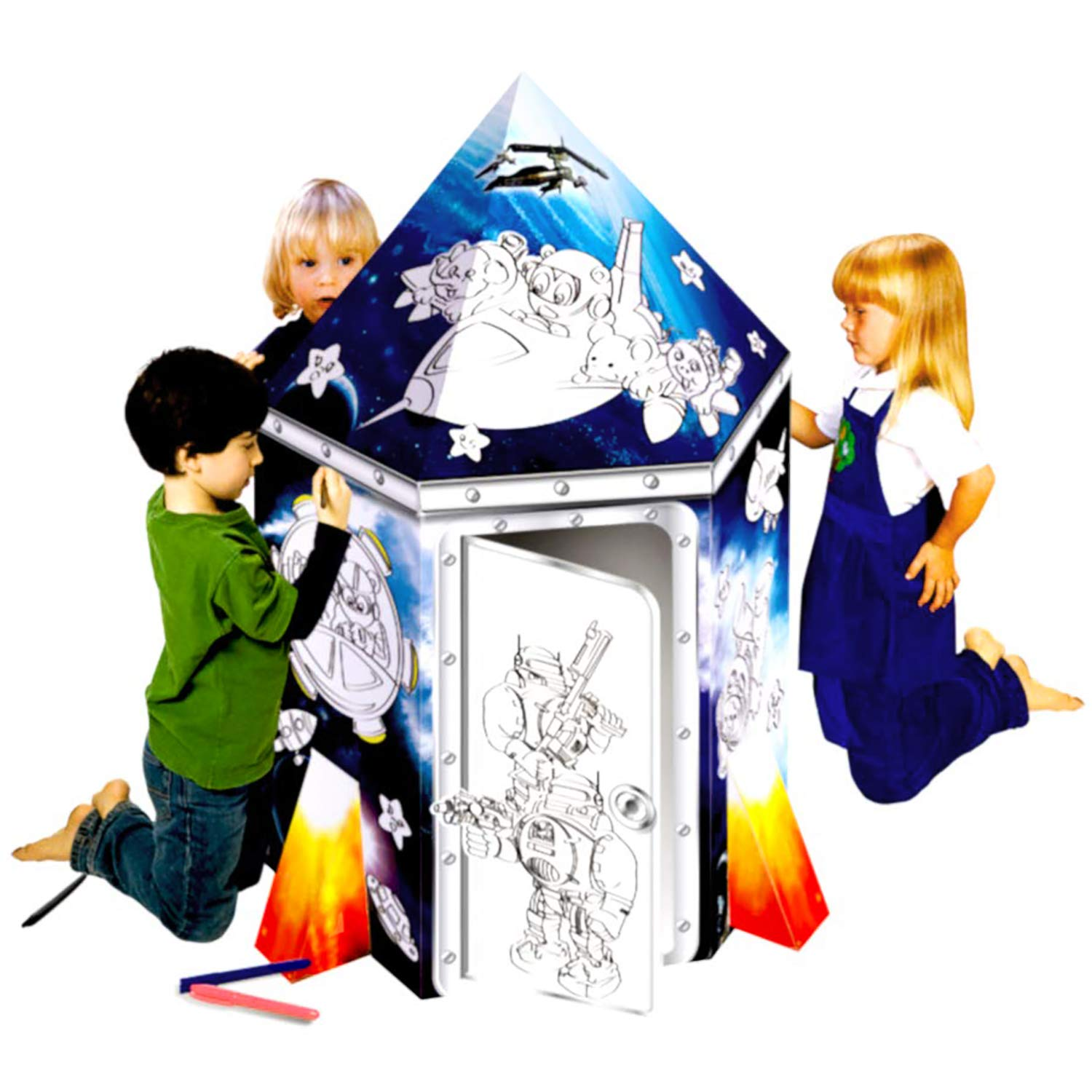 UC Global Trade Inc Rocket Ship Playhouse for Creative Coloring – Cardboard House for Kids and Additional Sticker Decorations