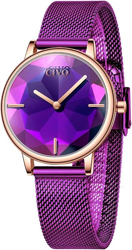 CIVO Relojes Mujer Púrpura Reloj de Pulsera para Mujeres ...