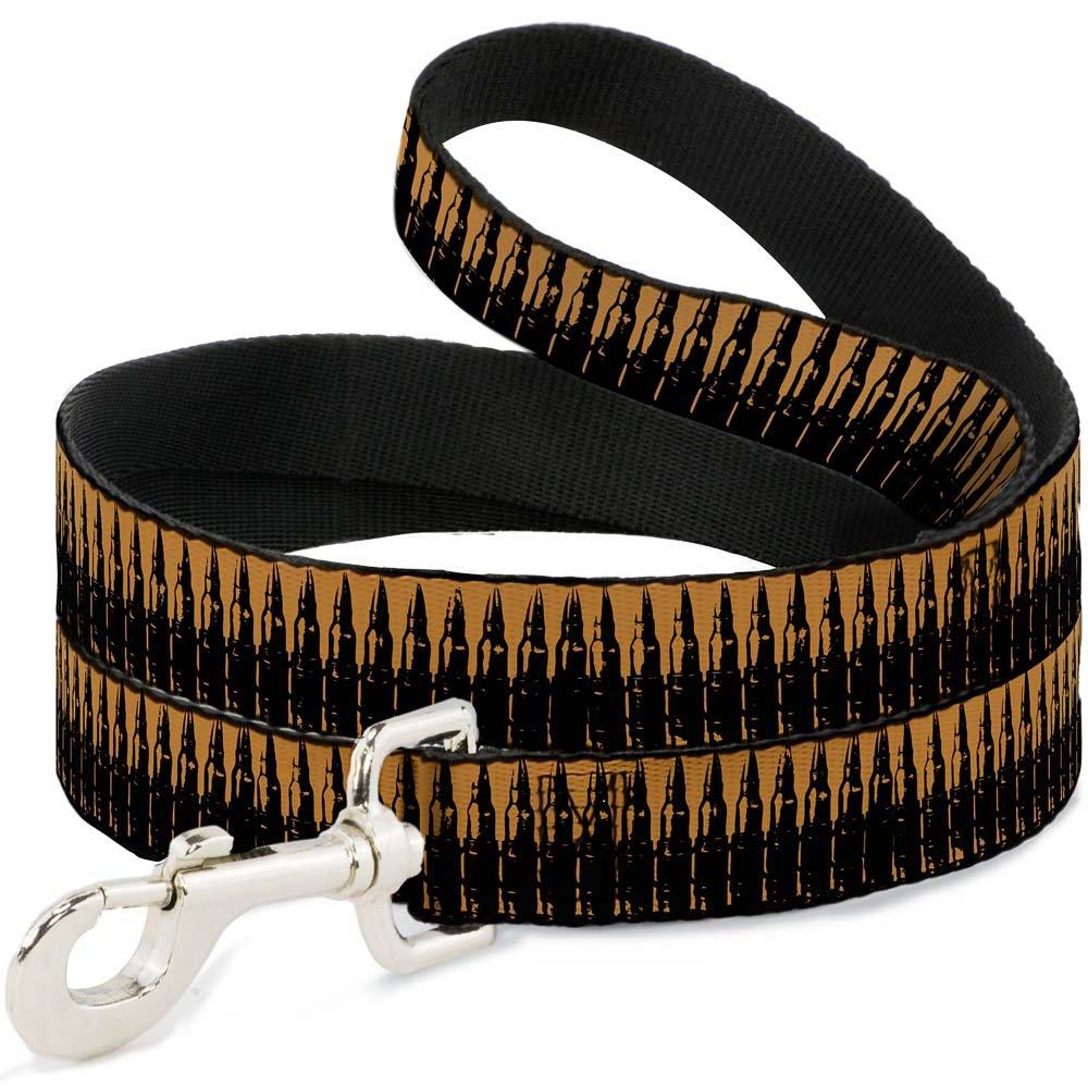6Ft. Long  1.0 Inches wide Regular Buckle-Down Bullets2 orange Black  Dog Leash, 6'