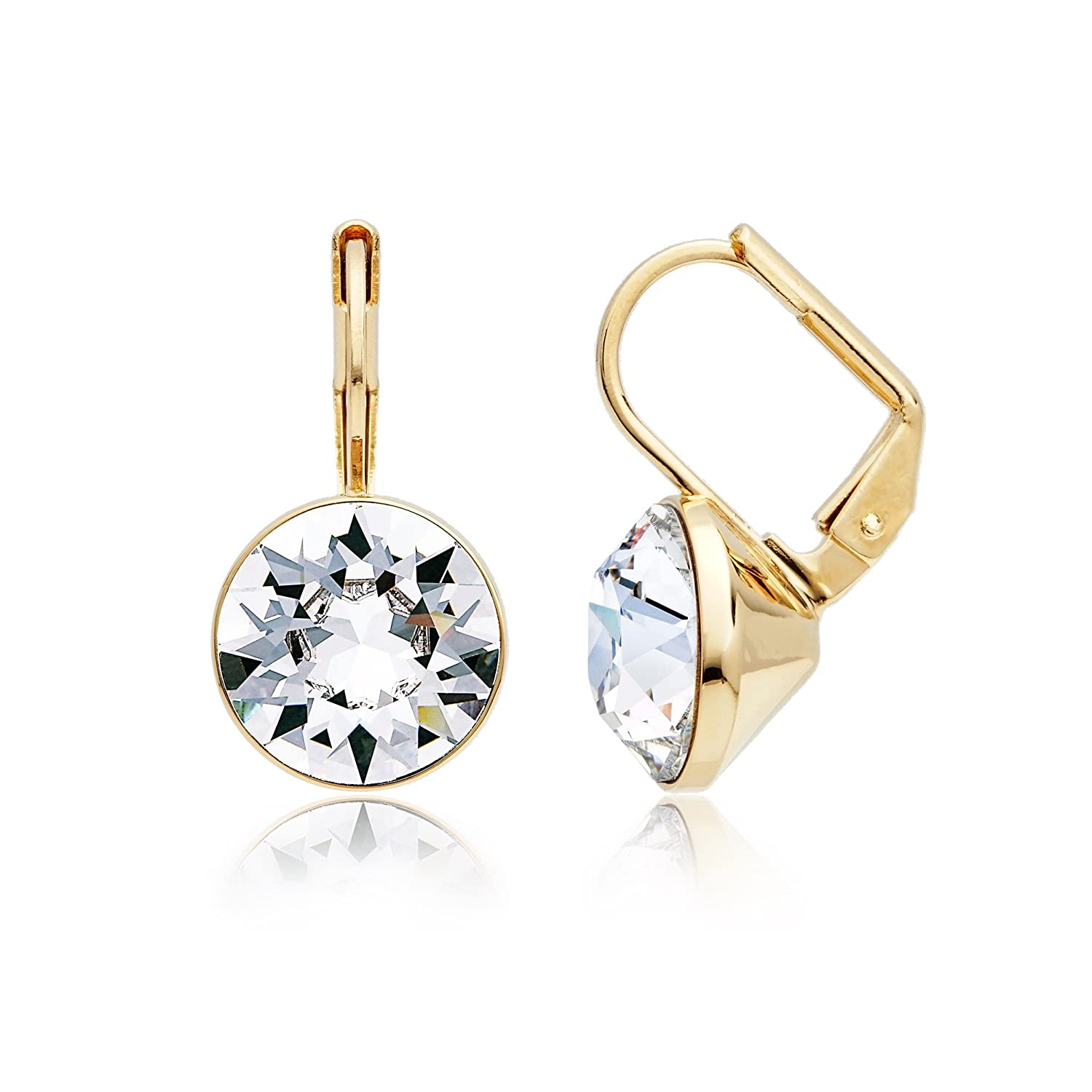 38f903e667 MYJS Bella 16k Gold Plated Mini Drop Earrings with Clear Swarovski Crystals