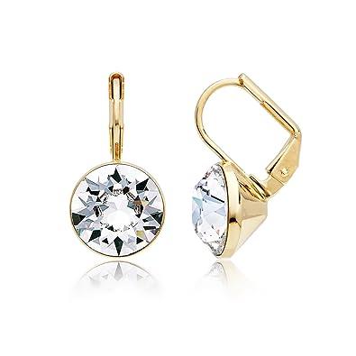 23862f79770 Amazon.com: MYJS Bella 16k Gold Plated Mini Drop Earrings with Clear Swarovski  Crystals: Jewelry
