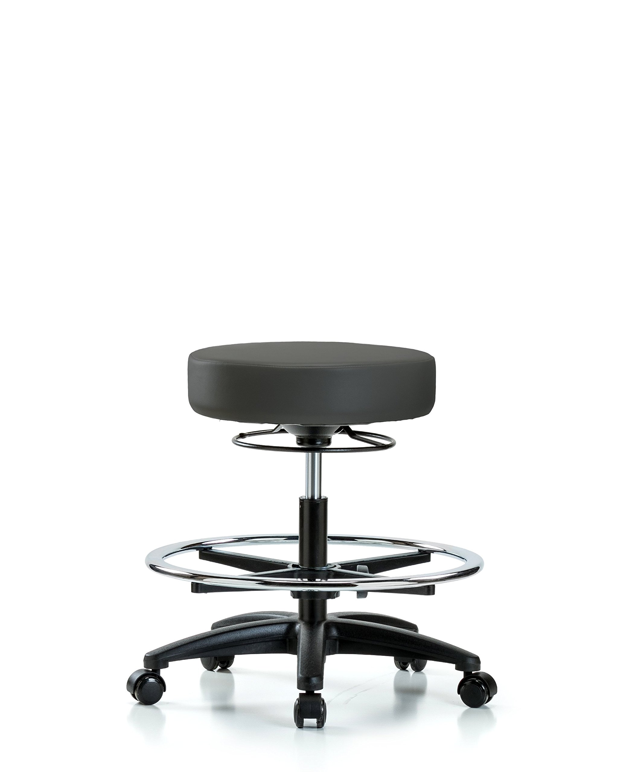 Adjustable Stool for Exam Rooms, Labs, and Dentists with Wheels and Foot Ring - Bench Height, Charcoal