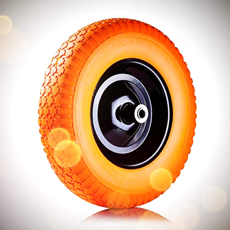 AFT PRO USA Wheelbarrow Wheels 16'' Flat-Free Air Less Tire Foamed Polyurethane Wheelbarrow Tire 4.80/4.00-8'' (Orange)