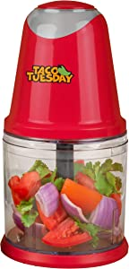 Nostalgia Taco Tuesday 2-Speed Chopper, Perfect For Salsa, Guacamole, Dip, Sauces, Hummus, Stainless Steel Blades, 2-Cup Capacity, Red