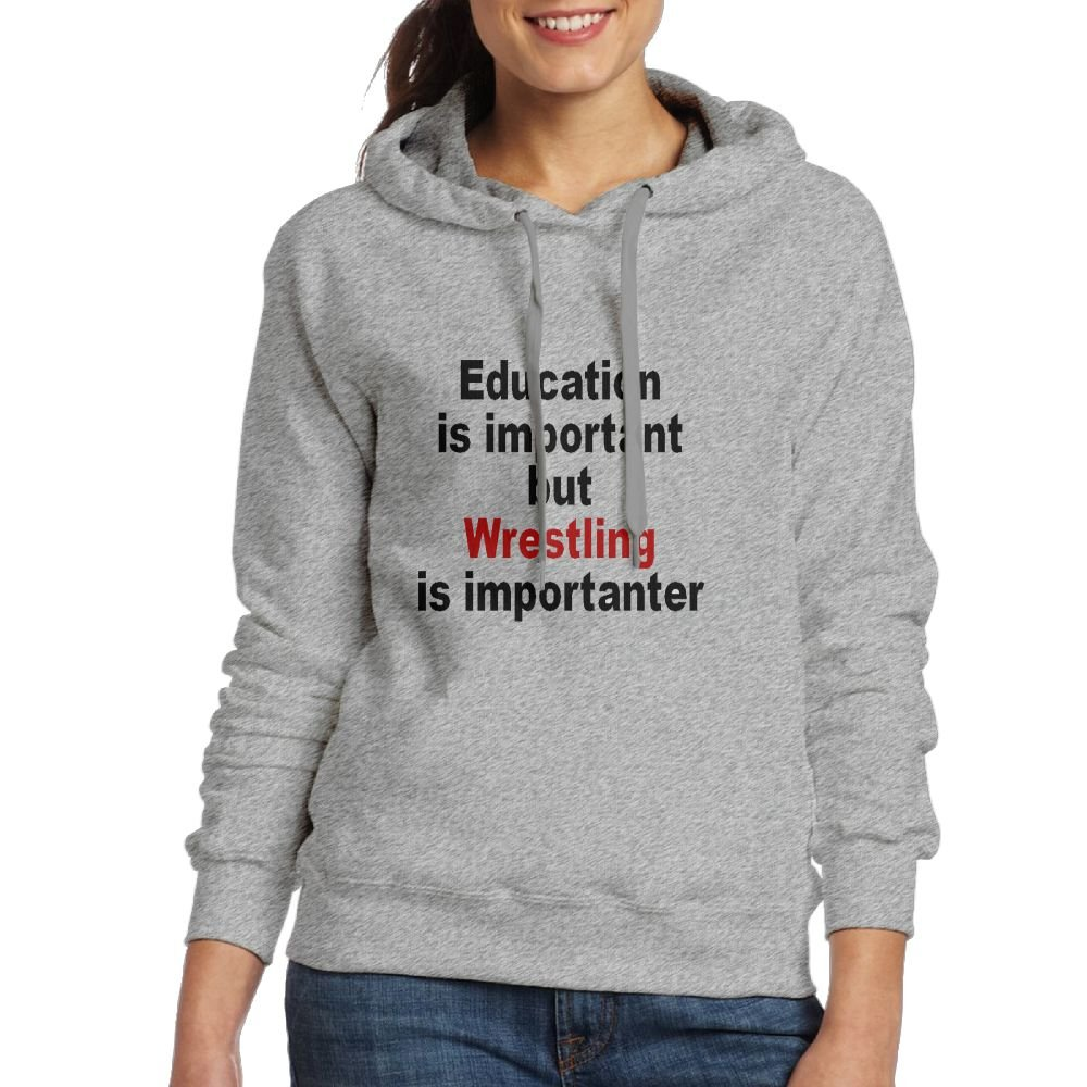 Education Is Important But Wrestling Is ImportanterLong Sleeve For Women Custom Hoodie SweatshirtAsh by Tong YiXing