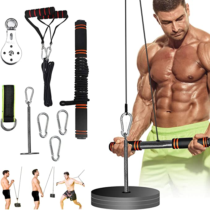 Fitness Arm Muscle Trainer Biceps Triceps Pulley Rope Wrist Roller Forearm US