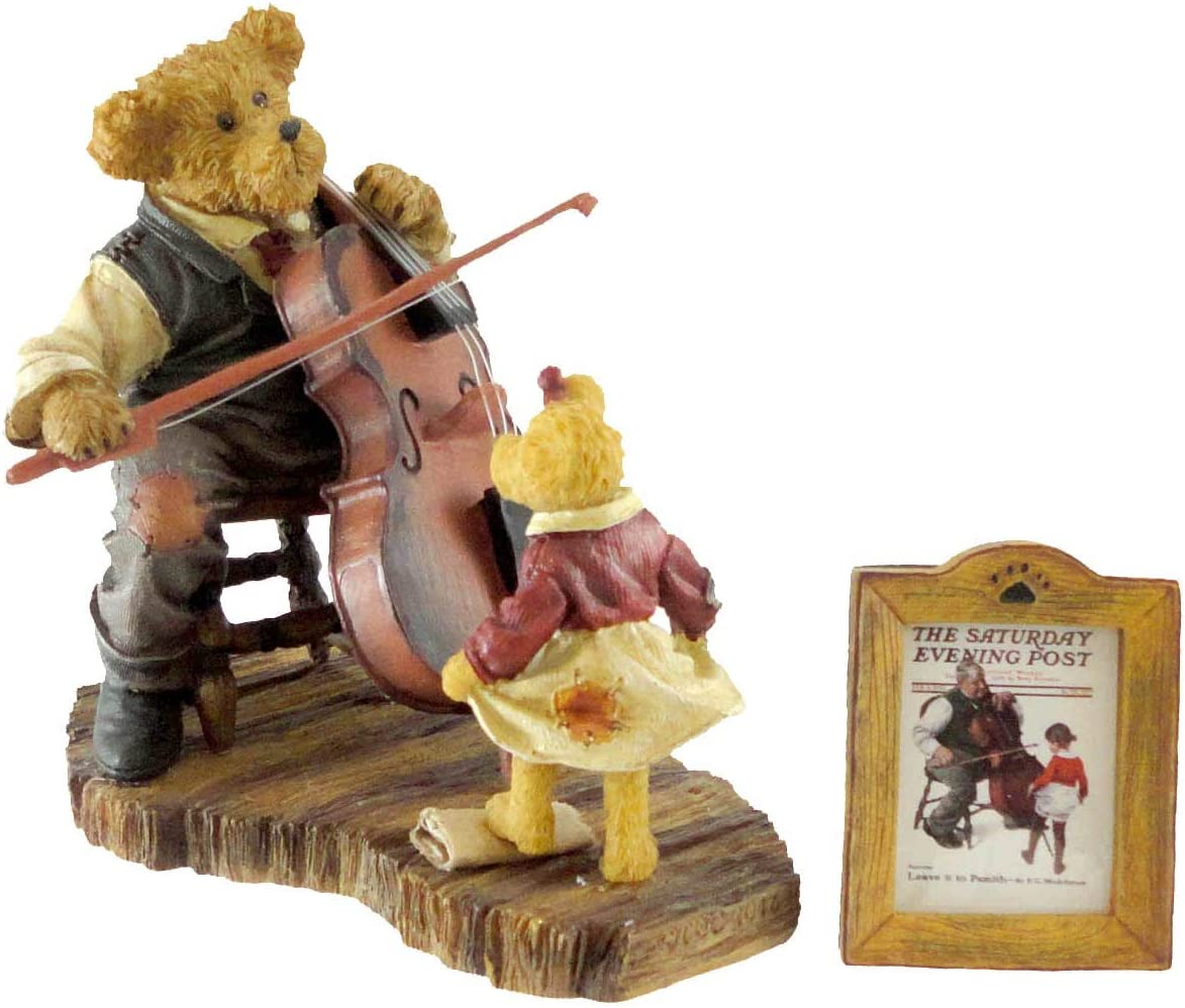 Boyds Bears Playing Cello Figurine GRANDPA S LITTLE BALLERINA Norman Rockwell Collection