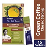 Saffola FITTIFY Gourmet Green Coffee Instant Beverage Mix, Classic Strong, 15 Sachets, 30g