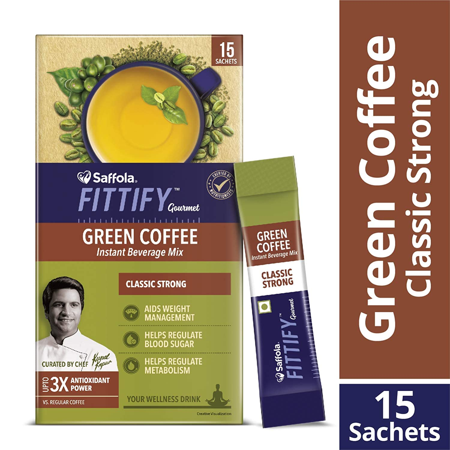 Saffola FITTIFY Gourmet Green Coffee Instant Beverage Mix -
