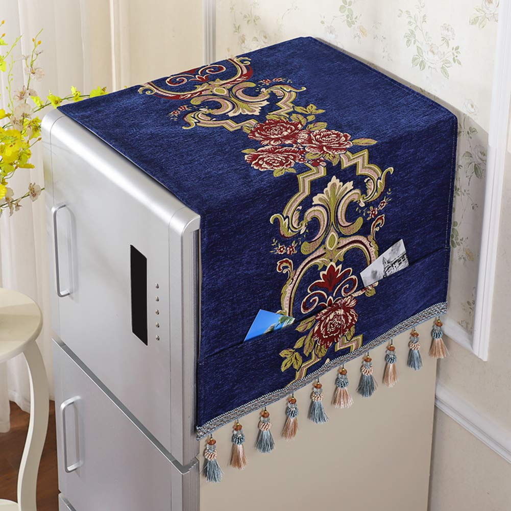 XK Luxury European Refrigerator Dust Cover Multi-Purpose Refrigerator Towel Automatic Washing Machine Top Cover with Storage Bag-r 55x135cm(22x53inch)