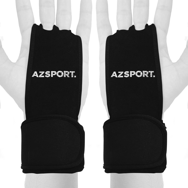 AZSPORTレザーハンドグリップ調整可能な手首サポート、ブラック B01GUUOSSS  Medium