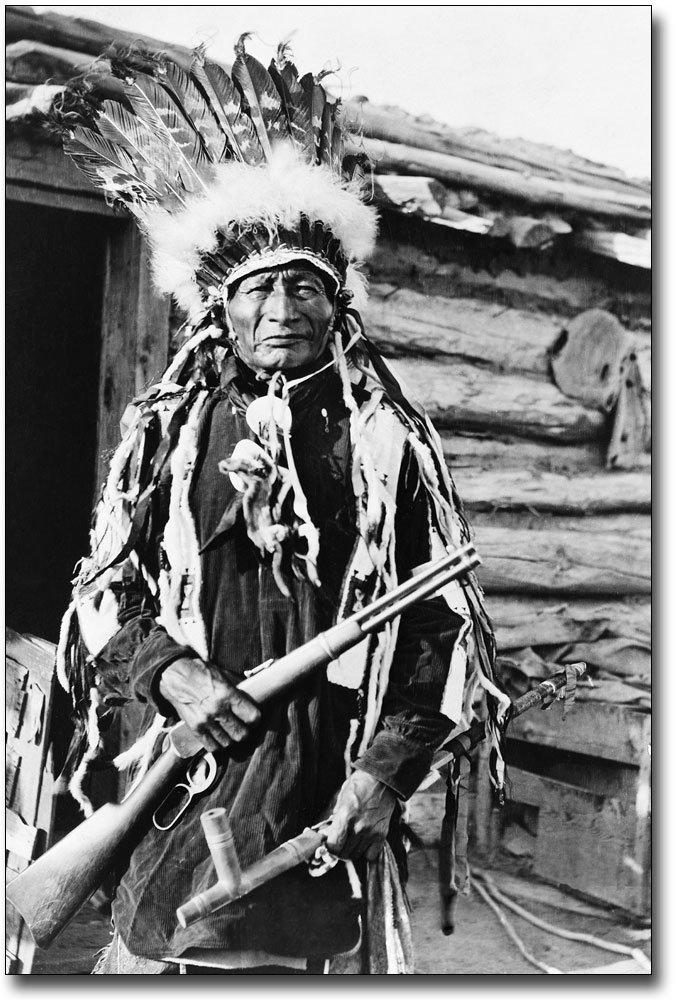 Native American Indian W/ Peace Pipe 1912 8x12 Silver Halide Photo Print