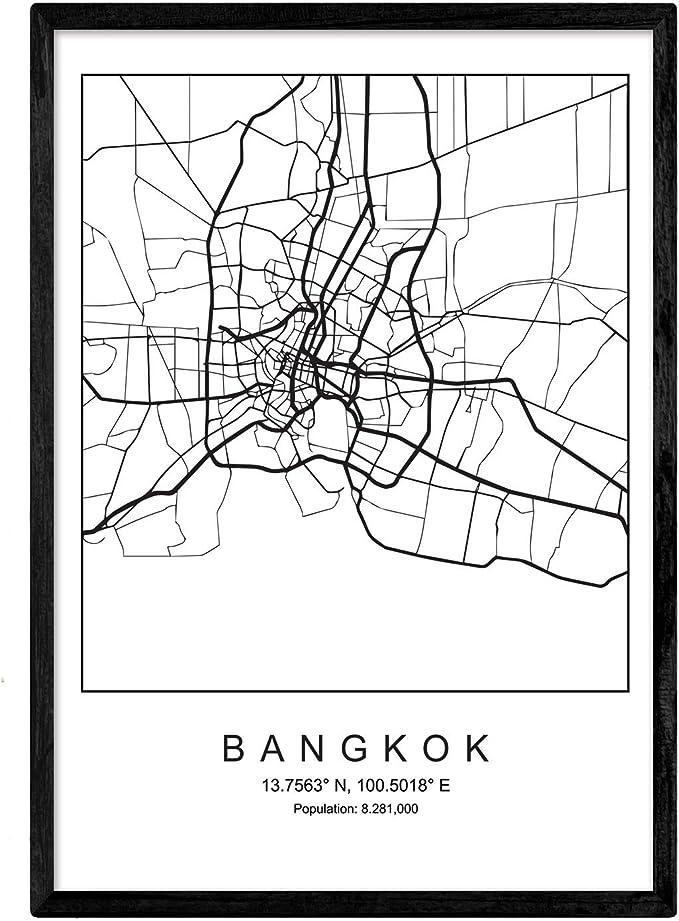 Nacnic Lámina Mapa de la Ciudad Bangkok Estilo nordico en Blanco y ...