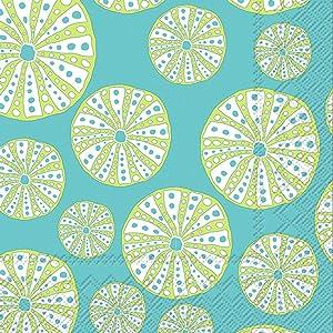 Boston International IHR Cocktail Beverage Paper Napkins, 5 x 5-Inches, Turquoise Urchin