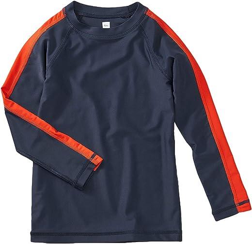 تي كوليكشن قميص سباحة رياضي مخطط الطفح الجلدي بأكمام طويلة للأولاد، نيلي
