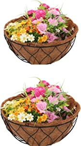 Large 24 Inch Coco Fiber Replacement,1/2/4PCS Round Replacement Coco Liner for Hanging Basket,100 Natural Coconut Fiber Plant Basket Liner for Garden Planter Flower Vegetables Pot (24 inch Round)