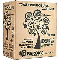 Sanilux Toalla Interdoblada Dobladitas Tipo Sanitas Caja con 20 fajillas de 100 Piezas
