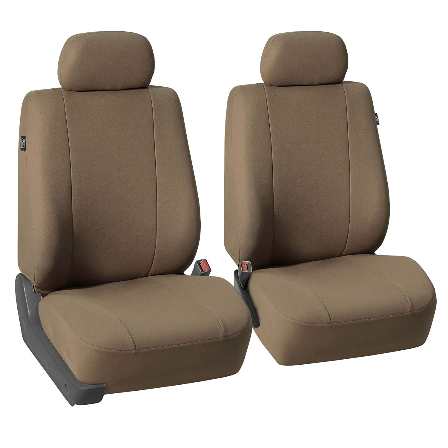 FH Group FB052102 Multifunctional Flat Cloth Bucket Front Car Seat Covers Taupe Color, (Airbag Compatible) w. FH1002 Non-Slip Dash Grip Pad- Fit Most Car, Truck, SUV, or Van