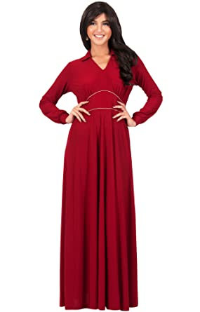 Koh Koh Womens Long Sleeve V Neck Flowy Semi Formal Elegant Gown