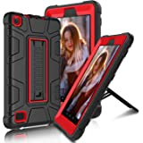"All-New Amazon Fire 7"" 2017 Case, Elegant Choise Fire 7th Generation Heavy Duty Shockproof Armor Rugged Protective Case Cover with Kickstand for Amazon Kindle Fire 7 2017 Release (Red/Black)"