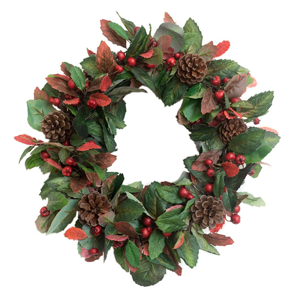 Christmas Pinecone Wreath Artificial Floral for Wall Door Hanging Year Round Wreath Home Decor