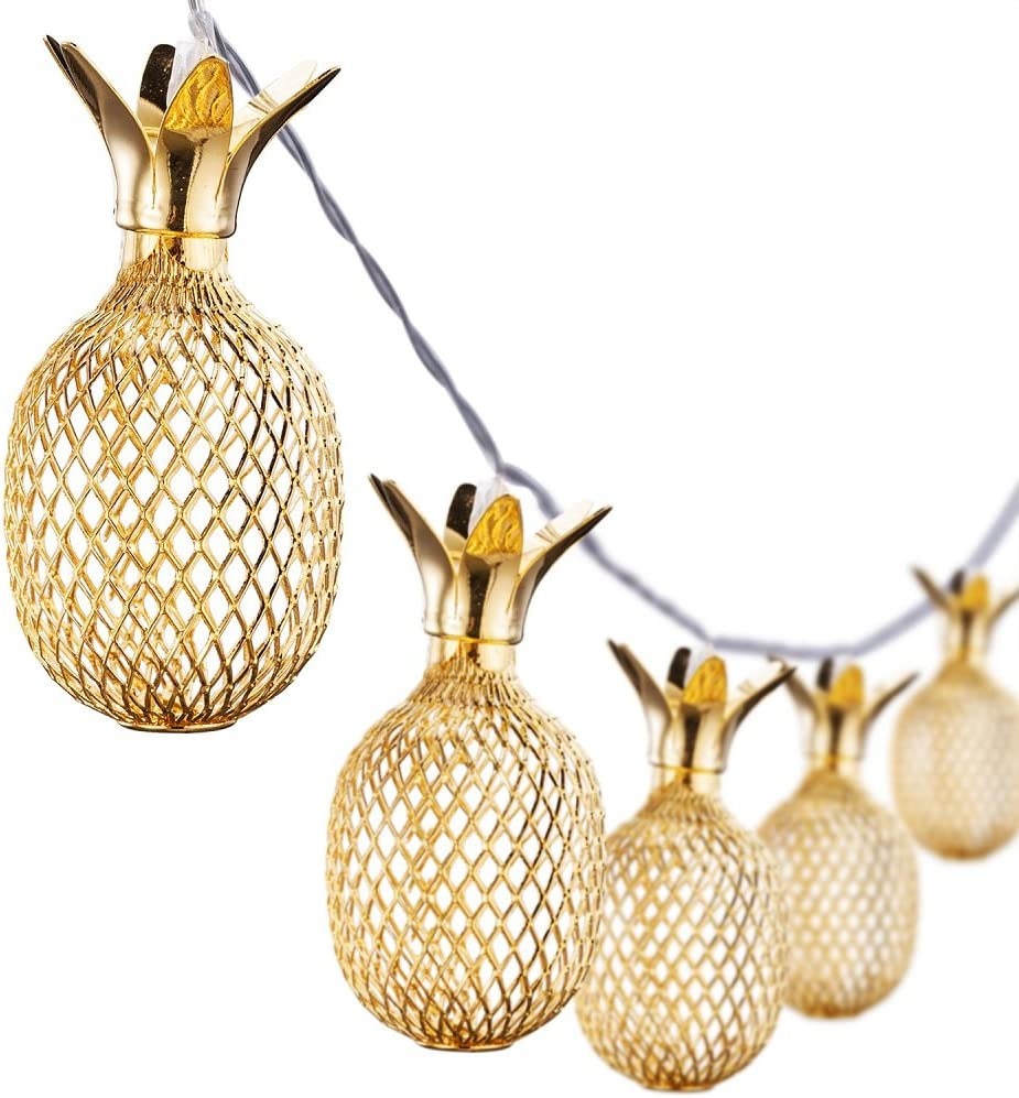 Omika Gold Metal Mesh Pineapple Lantern String Lights, 6.5ft 10 LED USB Plug & Battery Powered Novelty Fairy Lights for Bedroom Wedding Birthday Party Pineapple Decor(Warm White)