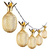 Omika Gold Metal Mesh Pineapple Lantern String Lights, 6.5ft 10 LED Battery Powered Novelty Fairy Lights for Bedroom Wedding Birthday Party Decorations(Warm White)
