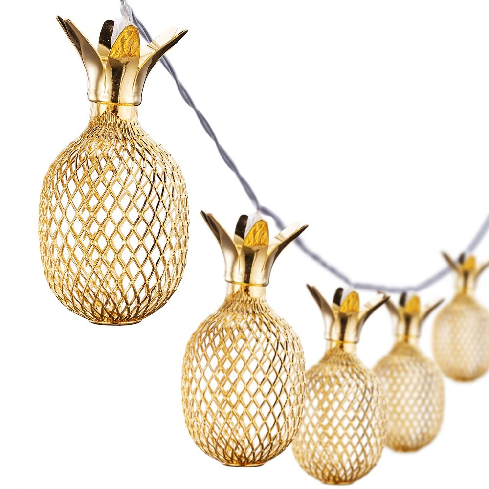 Omika Exclusive Gold Metal Mesh Pineapple Lantern String Lights, 6.5ft 10 LED Battery Powered Novelty Fairy Lights for Bedroom Wedding Birthday Party Decorations(Warm White)