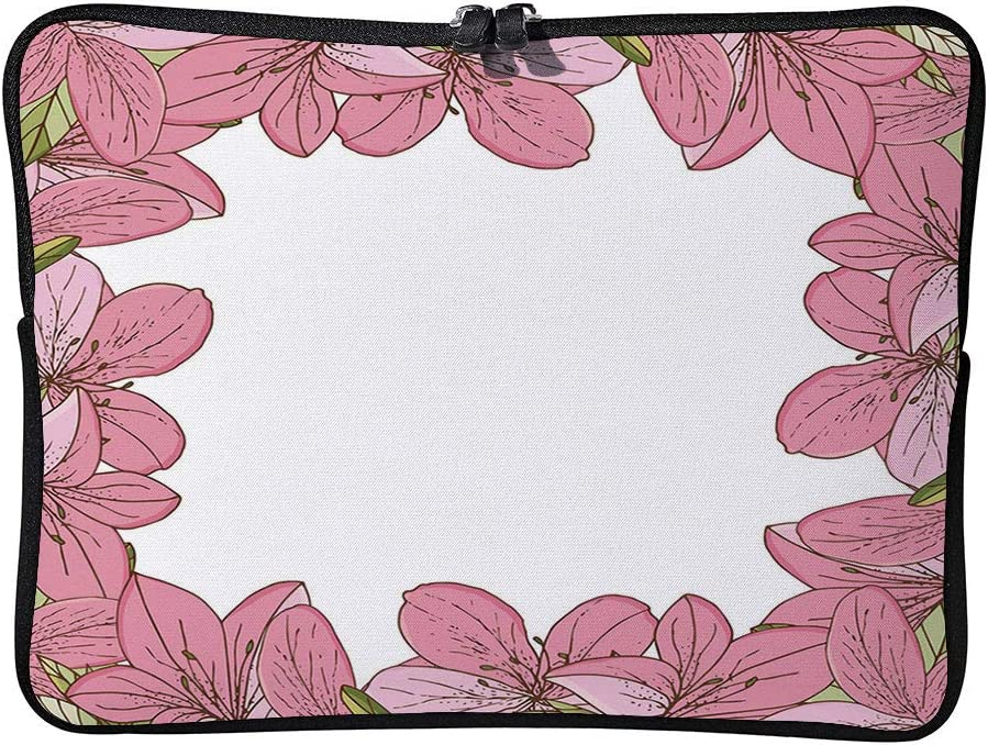 C COABALLA Azalea Floral Frame of Cartoon Rhododendron Cushion Protective Waterproof Laptop Case Bag Sleeve for Laptop AM004449 13 inch//13.3 inch