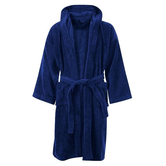 Kids Boys Girls Bathrobe 100% Egyptian Cotton Luxury Velour Towelling  Hooded Dressing Gown Soft Fine Comfortable Nightwear Terry Towel Bath Robe  Lounge Wear ... 0b23b9a44