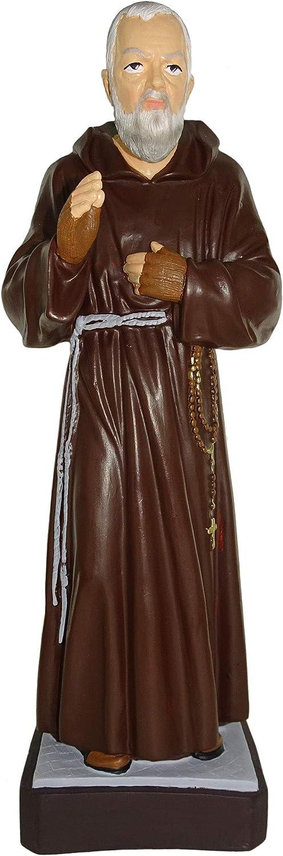 "Ferrari & Arrighetti Padre Pio Garden Statue Made of Unbreakable Material, Rain-Resistant, Hand-Painted (ca. 31.5"" / 80 cm Tall)"