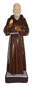"Ferrari & Arrighetti Padre Pio Garden Statue Made of Unbreakable Material, Rain-Resistant, Hand-Painted (ca. 15.7"" / 40 cm Tall)"