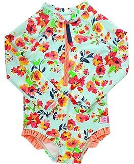 147b8a306c RuffleButts Little Girls Long Sleeve Zipper Rash Guard One Piece w/UPF 50+  Sun