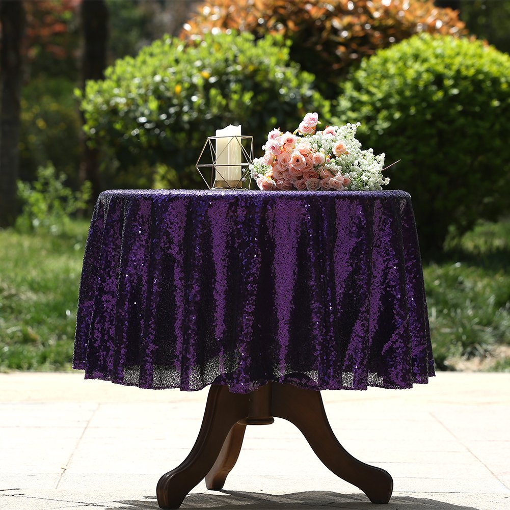 3E Home 50 Inches Round Sequin TableCloth for Cake Table Exhibition Decoration, Purple