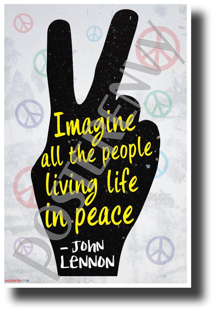 """Imagine All The People..."" - John Lennon - NEW Motivational Classroom Poster"