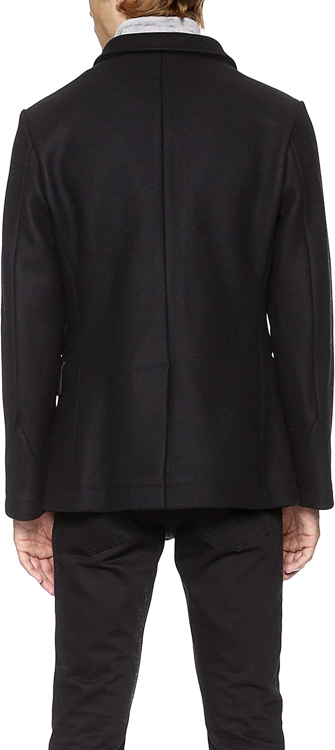 Billy Reid Men S Wool Double Breasted Bond Peacoat With Leather Details At Amazon Men S Clothing Store