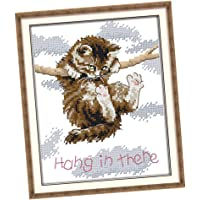 Baoblaze Counted Cross Stitch Kits- Cross Stitch Pattern Cat Hang in There with 14CT Without Pre-Printed Fabric
