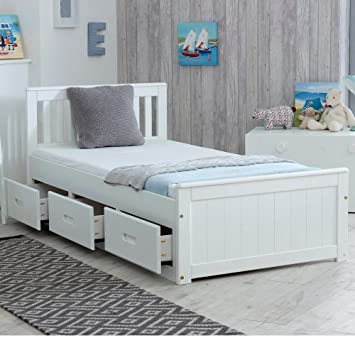 Happy Beds Mission Wooden Solid White Pine Storage Bed Drawers Furniture Frame 3 Single 90 X 190 Cm