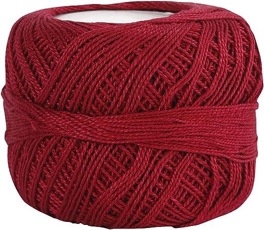 Hilo de algodón mercerizado , rojo antiguo, 20gr: Amazon.es: Hogar