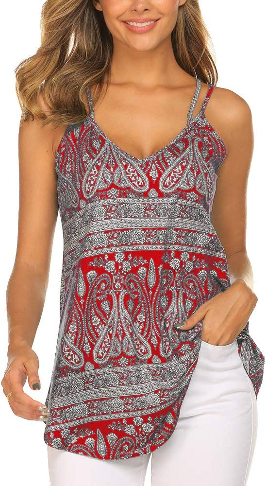 OURS Womens Casual Floral Print Double Spaghetti Strap Tunic Tops Summer V Neck Paisley Sleeveless Tank Shirts