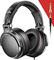 Vogek Over-Ear DJ Headphones, Prefessional Studio Monitor Mixing DJ Headset with Protein Leather Memory Foam Ear Pads, Stere