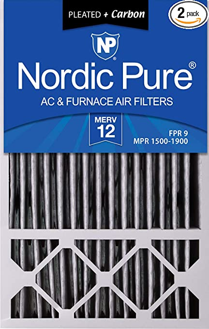 3 Piece Nordic Pure 16x25x2 MERV 10 Pleated Plus Carbon AC Furnace Air Filters 16 x 25 x 2
