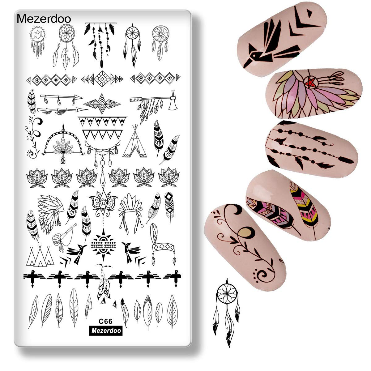 Mezerdoo 1Pcs Exotic Dreamcatcher Nail Art Stamp Plate Feather Collection Stamping Image Plates Manicure Nail Designs DIY Metal Templates Deco