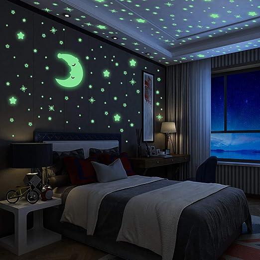 435 Stück Leuchtend Wandtattoo Wanddeko Wandtatoo Wandaufkleber Sterne