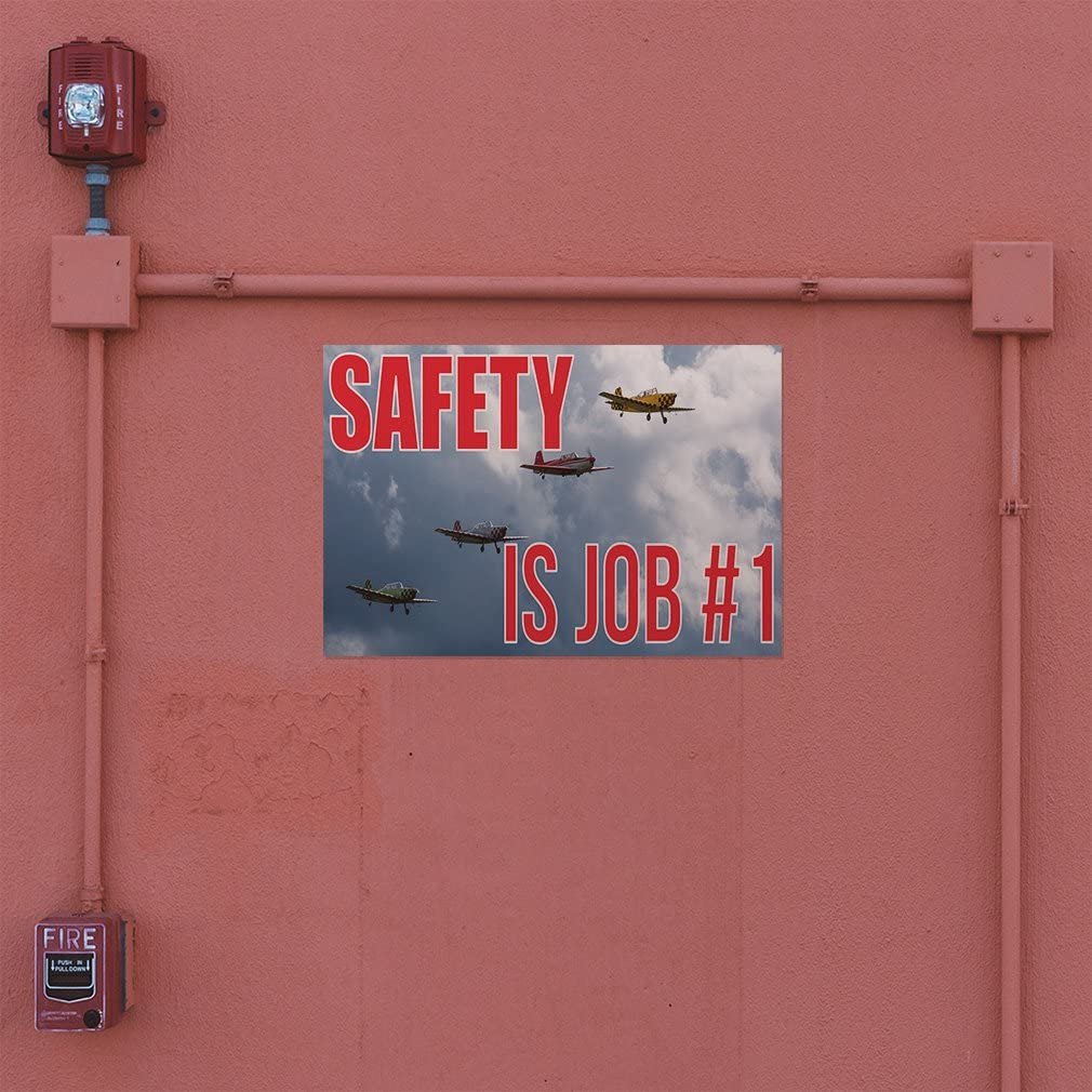 Decal Sticker Multiple Sizes Safety is Job # 1#1 Business Jet Outdoor Store Sign Red 52inx34in Set of 2