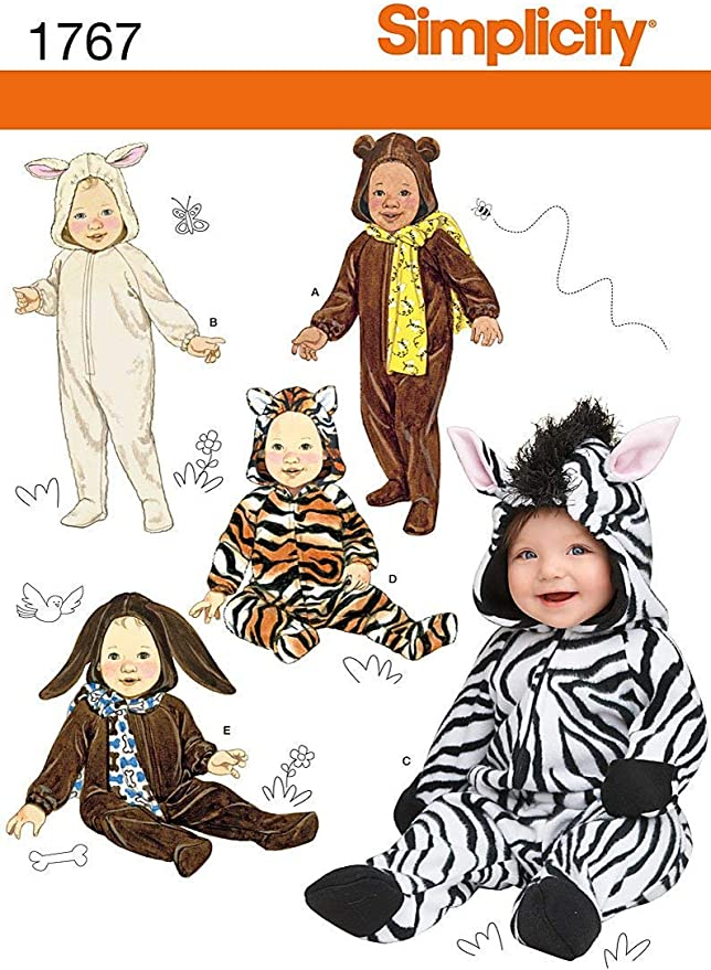 Simplicity 8776 Animal Onesie Baby Costume Sewing Pattern Sizes XS-L 5 Styles