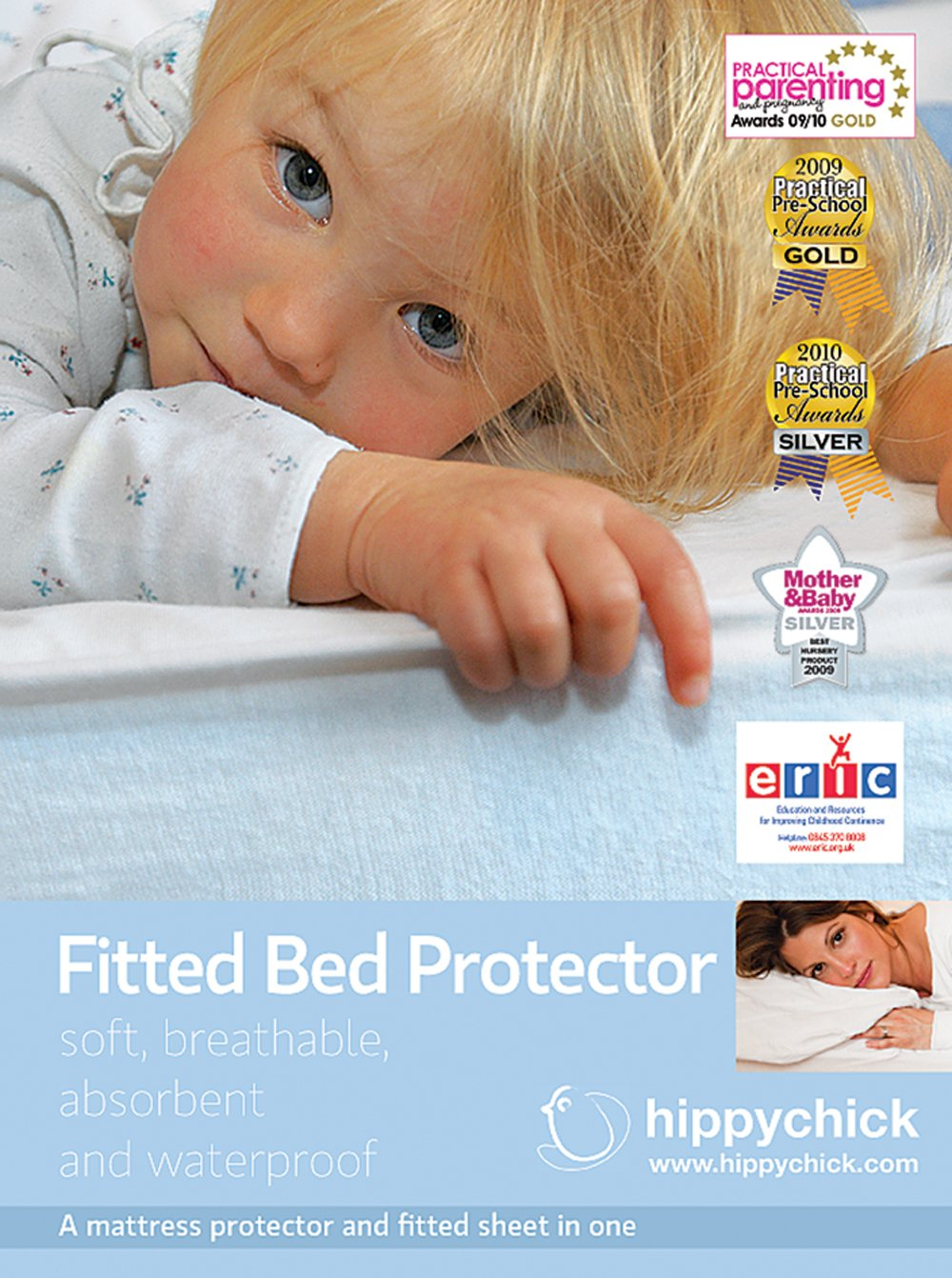 Hippychick Mattress Protector Fitted Sheet, 60 x 120 cm Cot HCFBP0C