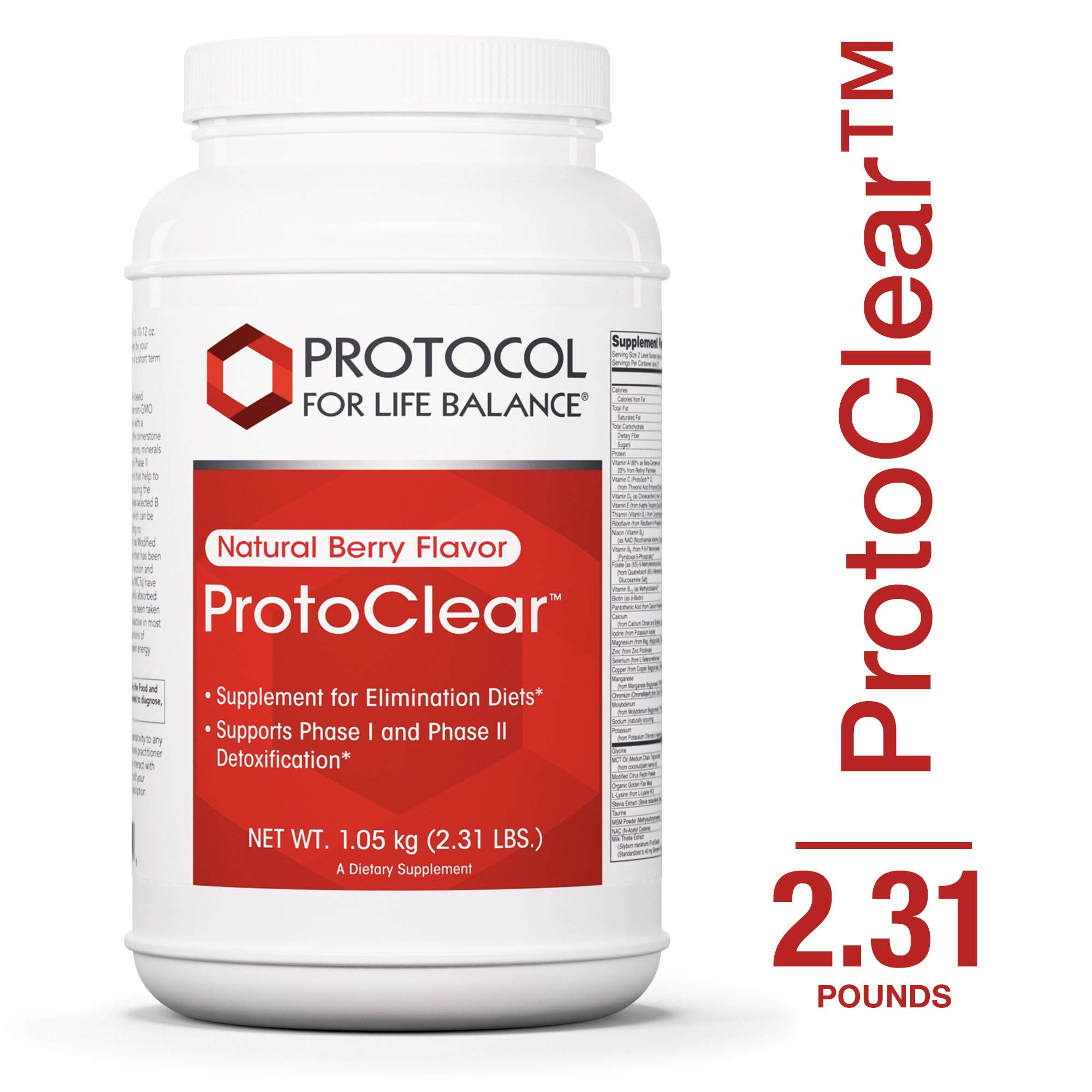 Protocol For Life Balance - ProtoClear™ - Vegetarian Pea Protein - Support for Detoxification and Elimination Diets BioAvailable Supplemental Formula - Natural Berry Flavor - 1.05 kg (2.31 lbs)