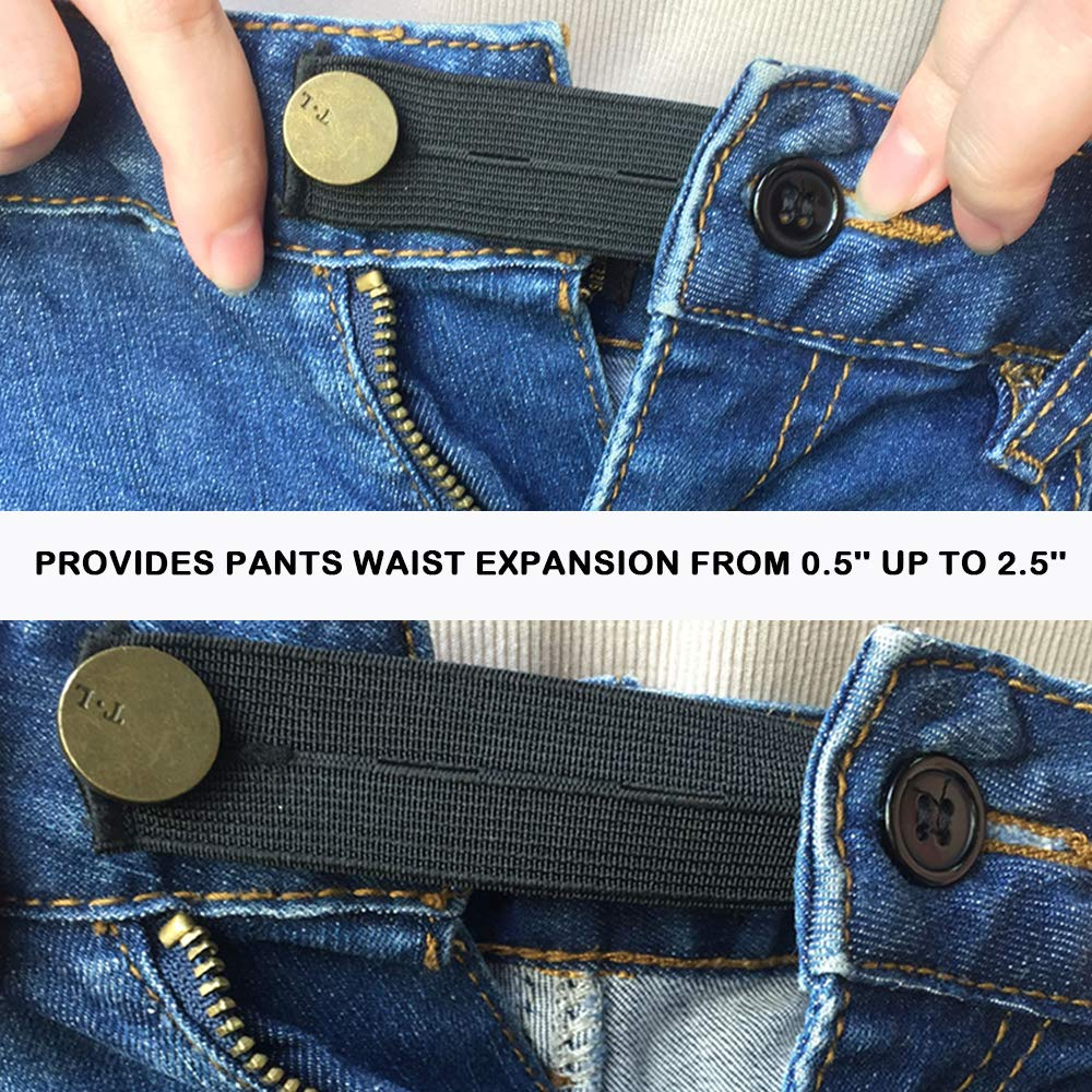 15 Pieces Elastic Waist Extenders and 6 Pants Button Extenders White and Khaki/ for Jeans Trousers and Skirt SourceTon Two Types Strong Adjustable Pants Button Extenders in Black